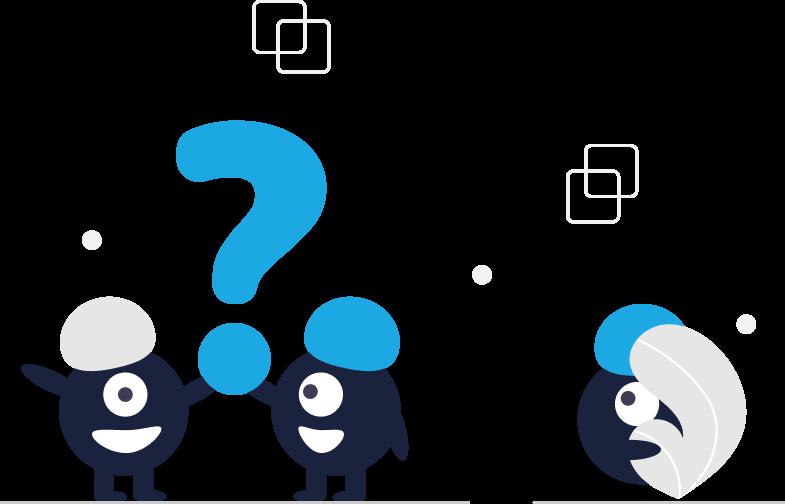 Fragen und Antworten. Kleine Figuren halten ein große Fragezeichen in die Höhe