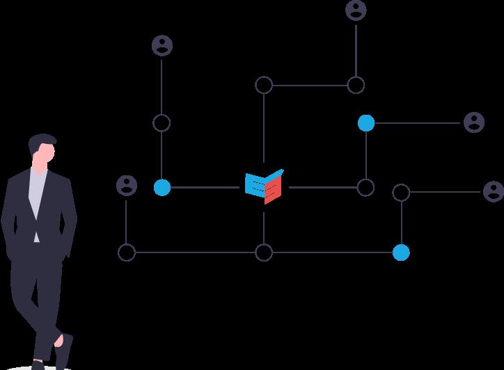 Grafik zum digitalen Forschungsatlas: Knotenpunkte sind mit Linien und Profilbilder verbunden.