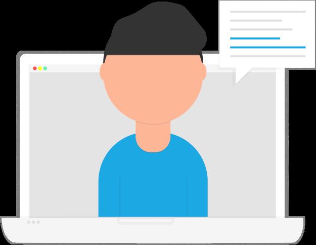 Persönlicher Innovationsberater: Mensch kommt aus Laptop hervor. Sprachbubble.