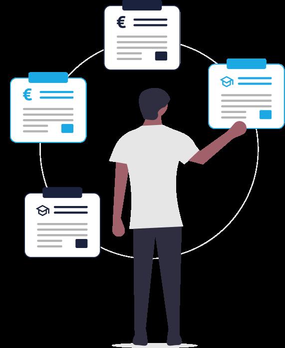 Grafik zu passendem Forschungspartner finden: Mann selektiert Profile, Gesuche und Fördermittel