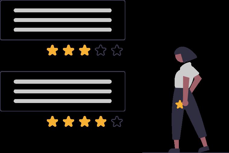 Kundenstimmen: Frau vergibt Sterne