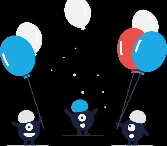 Grafik: Wir feiern. Männchen mit Luftballons