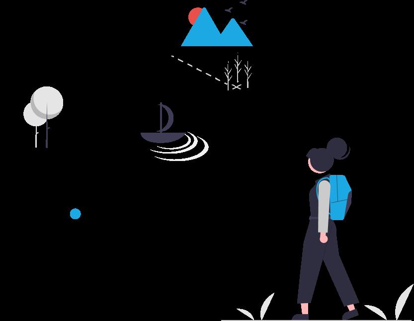 Grafik zur Projektbegleitung: Frau mit Rucksack auf Wanderung